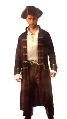 Captain Cutthroat Pirate Costume Brown Faux Leather Print Men Plus Size Std-XXL