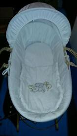 White moses basket with stand and bedding