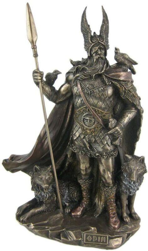 Odin VIKING NORSE MYTHOLOGY GOD W WOLVES Statue Antique Bronze Finish