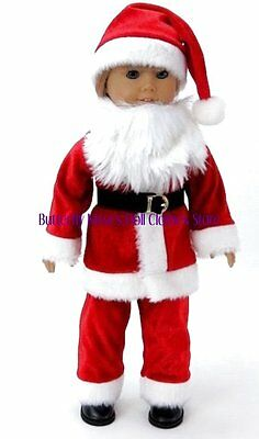 Mr. Santa Claus Costume w/Beard & Hat 18 in Doll Clothes Fits American Girl](Girl Santa Claus Costume)