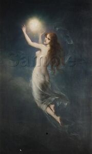 VINTAGE WITCH MORNING STAR NUDE FLYING WICCA WITCHCRAFT CANVAS ART PRINT