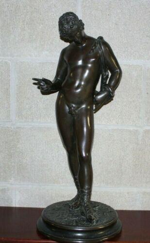 Antique 19th Century Classical Bronze Statue NARCISSUS FIGURINE
