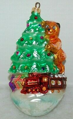 Radko RIGHT ON TRACK Christmas Ornament 98-302-0 BEAR, TREE, TRAIN ()