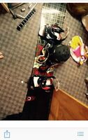Snowboard with helmet bindings (everything in pic)