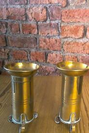 Pair 1world war shells convert into candle holders height 5 inches high 2.5 diameter