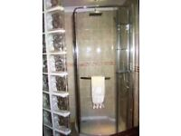 Corner Shower Enclosure with Tray.