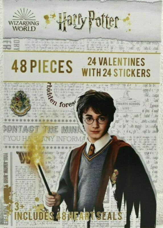 New Harry Potter Valentines Day Cards 24 + 24 Stickers (48) w/ seals PMG 3+ Ages