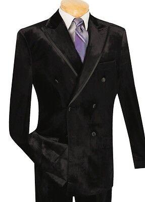 Vinci Men's Black Velvet Double Breasted Classic Fit Tuxedo Suit w/ Trim NEW](Velvet Mens Suits)