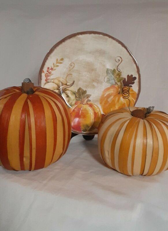 Plates x 3 By Rachel Ashwell & 2 Pumpkins Thanksgiving Decor
