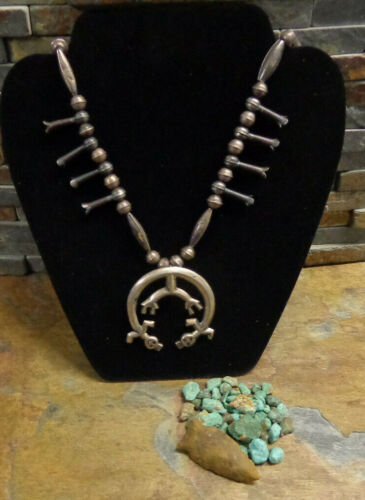 WOW!! EARLY NAVAJO YEI KACHINA STERLING SQUASH BLOSSOM NECKLACE NATIVE OLD PAWN