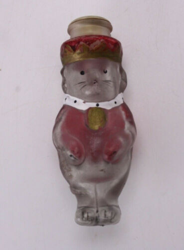"King Mouse Glass 3"" Miniature Collectible Bottle Vtg Antique Cute Royalty"