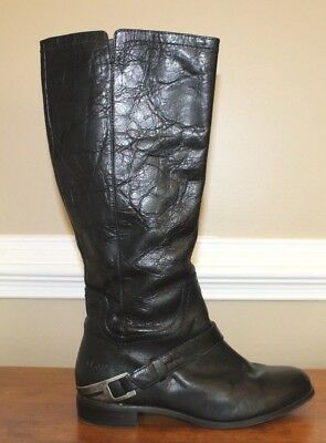 Ugg Channing II Womens Boots Size 7 Black Leather Harness Knee High Riding Shoes for sale  Sandston