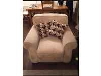 Beige cream textured sofa armchair