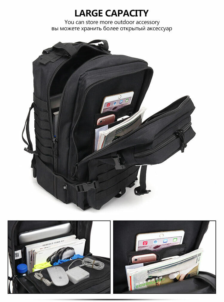 Black 45L Military Tactical Backpack Large Army 3P Assault Pack Molle Backpacks Camping & Hiking