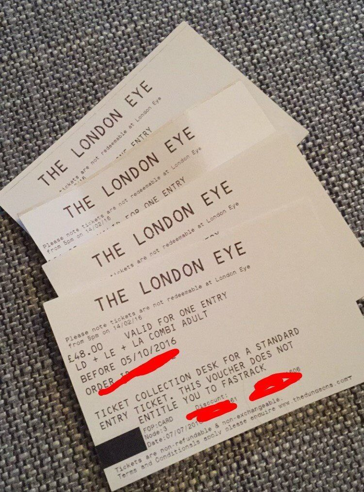 Tickets to The London Eyein Blackheath, LondonGumtree - Tickets to the London Eye. Im selling 4 tickets (3 adults 1 child) to the London Eye. We bought a combination ticket to London Dungeons, London Aquarium and The Eye, but didnt have time to visit The Eye during our stay. The tickets are valid until...