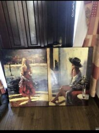 Two large canvases pictures art living room
