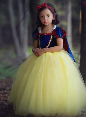 Girls Kids Snow White Princess Dress Kids Cosplay Costume Party Dress Up [O36] - Dress Up Costumes For Girls