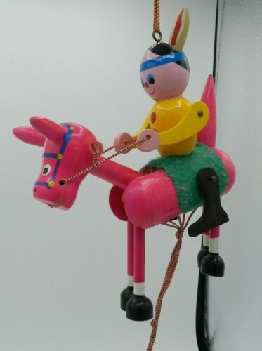 Vintage Pull STRING WOOD JUMPER PUPPET Arms & Legs Move HORSE INDIAN PINK JAPAN