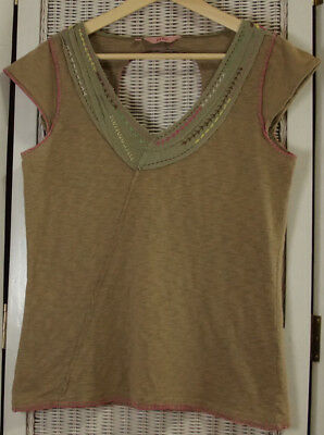 FAT FACE Cut-Out Back Embroidered Summer Top UK12 Cap Sleeve Tan Camel Cotton
