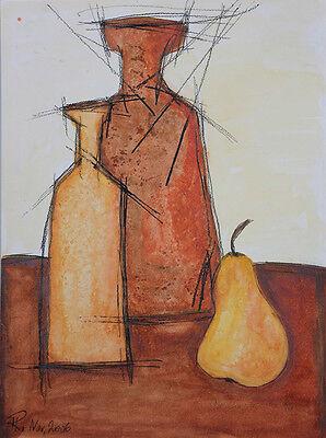 Stillleben mit Vasen und Birne, Aquarell, monogrammiert und datiert 2006