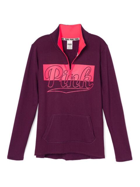Victoria's Secret Love Pink Half Zip Sweatshirt Curved Hem Small ...