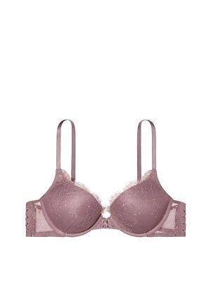 Victoria's Secret Bombshell Add-2-Cups Push-Up Bra Mauve Rose Lace Lace Up  34C