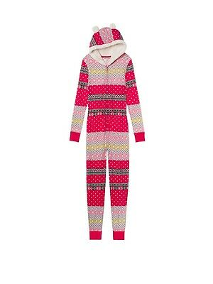 Victoria's Secret The Fireside Thermal Long Jane Hooded One Piece Pajama Size L