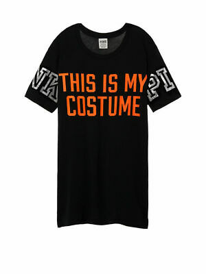 Victoria Secret PINK This is My Costume Halloween Lace Back Short Sleeve Tee XS (Halloween Costumes Victoria Secret)
