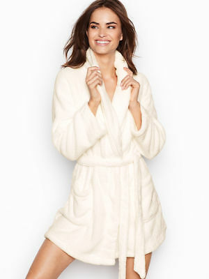 VICTORIAS SECRET COZY PLUSH SHORT ANGEL ROBE WHITE XS/S M/L New Free Shipping