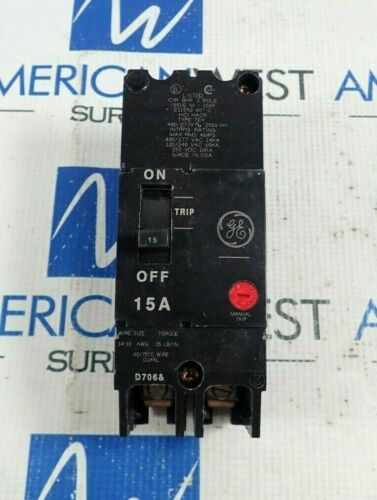GENERAL ELECTRIC TEY215 2 POLE CIRCUIT BREAKER 15A 480/277V