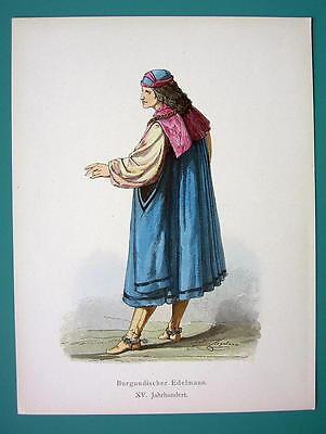 COSTUME Burgundy Nobleman 15th Century - 1880s Color Antique Print