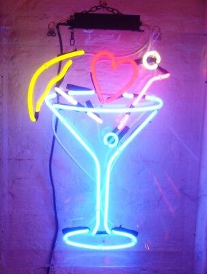 New Martini Cup Bar Love HearA rtwork Poster Acrylic Neon Light Sign 14