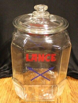 Vintage LANCE Cracker Peanut 50's Glass JAR Store Counter Display Glass Lid