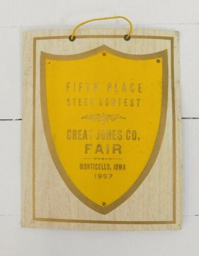 Vintage 1957 Great Jones Co. Fair Monticello Iowa 5th Place Steer Contest Award
