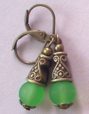 green BEACH SEA FROSTED GLASS drop earring BRONZE HANDCRAFTED