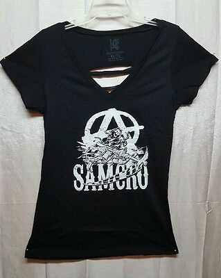 NEW OFFICIAL Sons of Anarchy SOA SAMCRO REAPER Womens T-Shirt SLIT BACK XL A302