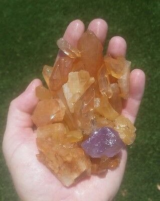Gemstone Farmer  1 2 Lb Raw Tangerine Quartz Rough Crystal Points And Clusters