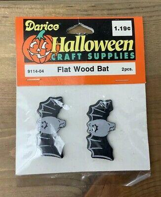 Vintage Halloween Craft Supplies (Vintage Darice Black Bat Halloween Flat Wood Craft Supplies 9114-04)