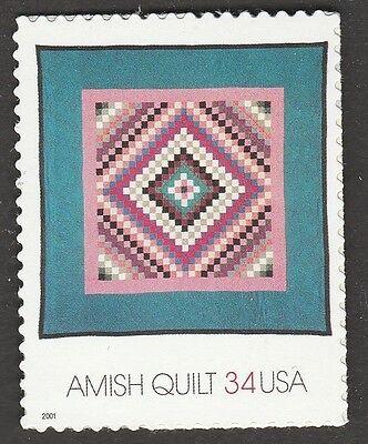 Amish Single (US 3526 Amish Quilts Sunshine and Shadow 34c single MNH 2001)