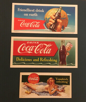 Vintage Coca Cola Blotters Sprite Boy Woman Girl Sign Display Cardboard Lot Of 3