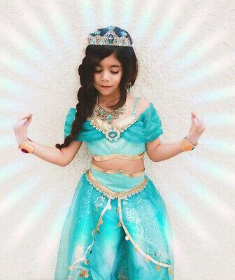 Lovely Aladdin Jasmine Princess Kids Girls Cosplay Costume Halloween Dress Up