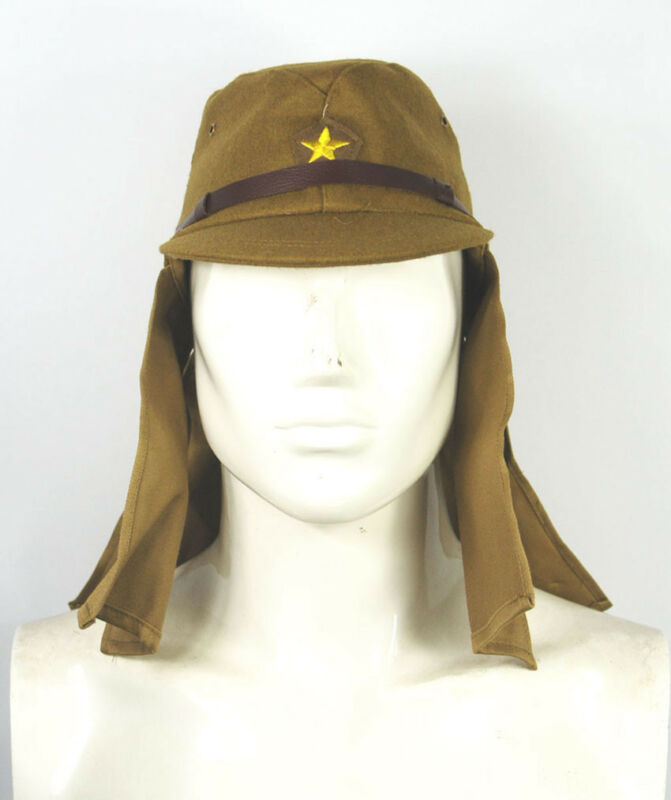 WWII WW2 Japanese Army IJA Soldier Field Wool Cap Hat With Havelock Neck Flap XL