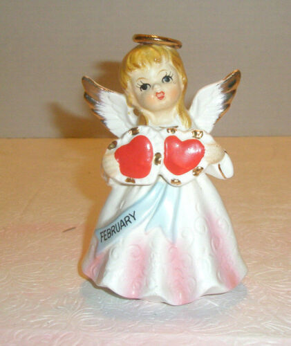 Vintage February Valentine Angel Figurine Holds Two Hearts Japan