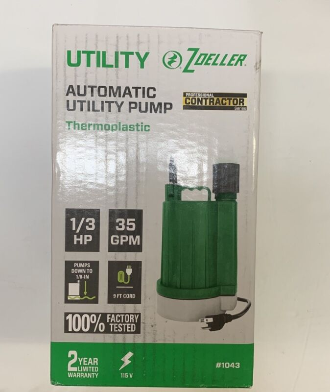 Zoeller Utility Automatic Utility Pump Thermoplastic 1/3 HP 35 GPM #1043