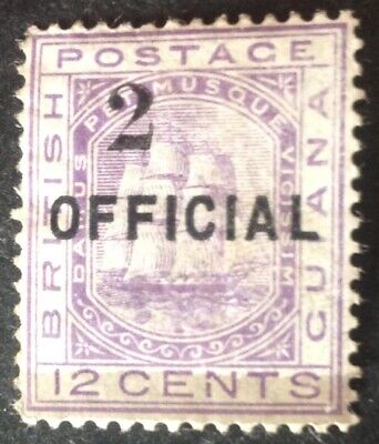 British Guiana 1881 2 on 12 cent violet official stamp mint hinged