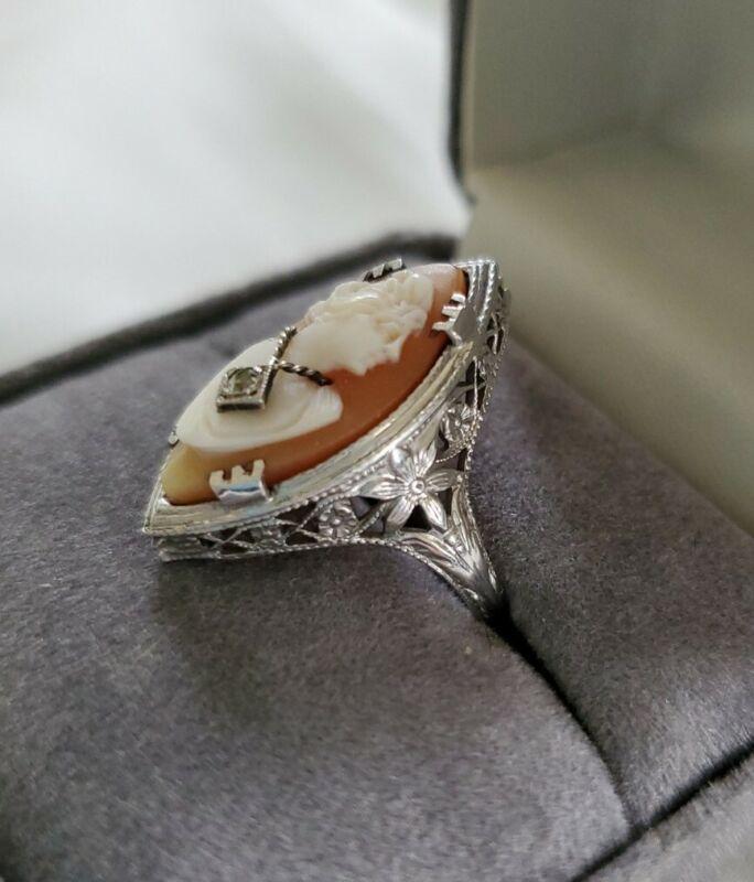 Antique Victorian Filigree 14k White Gold Shell Cameo Habille Diamond Ring