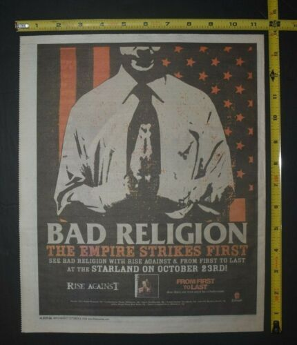 Bad Religion 2004 Color Concert Ad The Empire Strikes First Rise Against