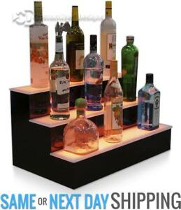 "24"" 3 Step Tier LED Lighted Shelves Illuminated Liquor Bottle Bar Display Stand - BRAND NEW - FREE SHIPPING"