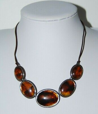 BEAUTIFUL CASUAL FAUX AMBER STONES WITH SILVERED ACCENTS LINKED ON CORD NECKLACE Faux Accent Stones