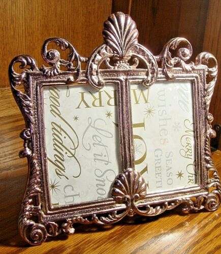 Vintage Solid Metal ORNATE DOUBLE PHOTO FRAME Victorian Floral Two Pictures  571